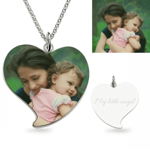 Engraved Heart Mom & Daughter Photo Necklace Sterling Silver