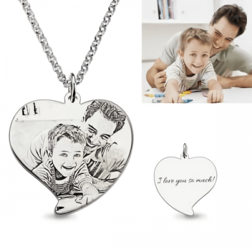 Custom Engraved Heart Photo Necklace Dad & Son Silver
