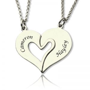 Personalized Breakable Heart Name Necklace for Couples Silver