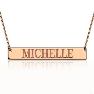 Engraved Name Bar Necklace In Rose Gold