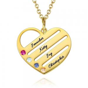 Collana a cuore di Birthstone con nomi incisi - Placcato in oro
