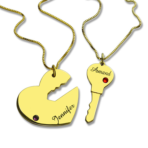 Key to My Heart Couple Name Pendant Necklaces Gold