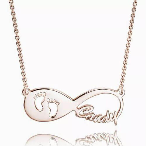 Baby Footprint Infinity Name Necklace Rose Gold Plated