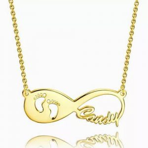 Baby Footprint Infinity Name Necklace 14k Gold Plated