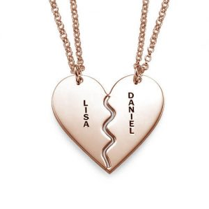 Breakable Heart Necklace Set - Rose Gold Plated