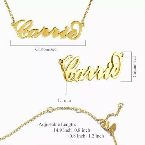 """""""Carrie"""" Style Name Necklace 14K Gold Plated"""