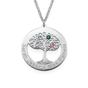 Collana Circle of Tree of Life con pietre preziose