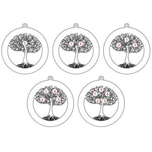 Rose Gold Plating Circle Tree of Life Necklace with Birthstones