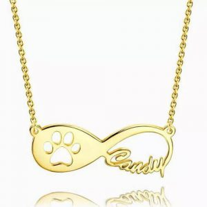 Dog Paw Print Infinity Name Necklace 14k Gold Plated