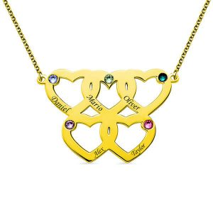 Collana a cinque cuori incisa con pietre di nascita in oro