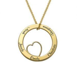 Collana con ciondolo Family Love Circle con placcatura in oro