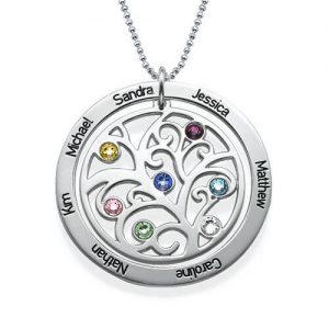 Collana Birthstone dell'albero genealogico in argento sterling