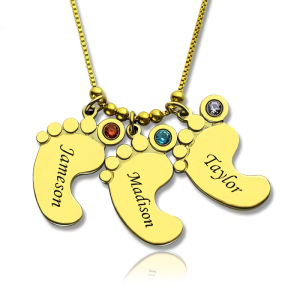 Personalized Mother's Necklace Baby Feet Charm - Gold Plated