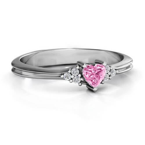 Narrow Heart Ring with Shoulder Accents