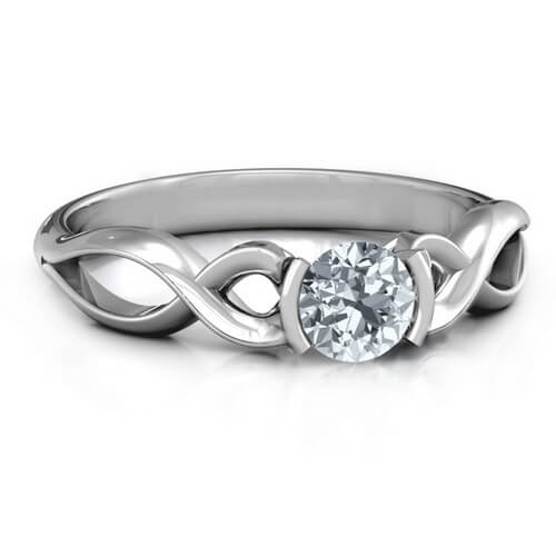 Half Bezel Infinity Ring