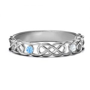 Two-Stone Interwoven Infinity Ring