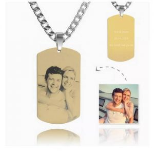 Mens Photo Engraved Tag Necklace With Engraving 18k Gold Plated Stainless Steel