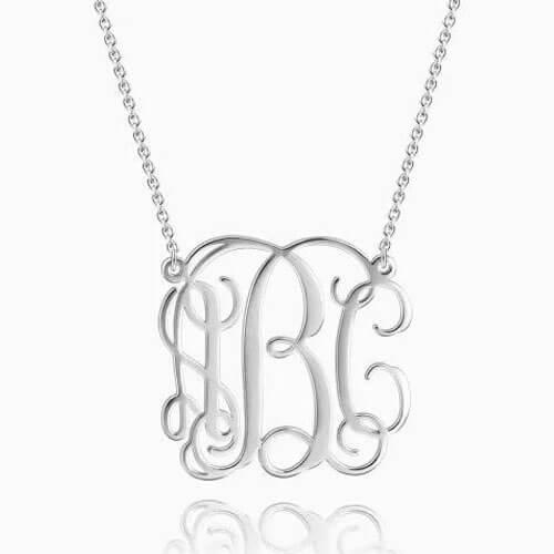 Large Monogram Necklace Silver