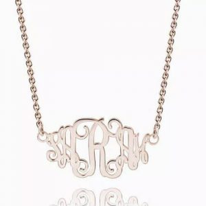 Celebrity Monogram Necklace Rose Gold Plated