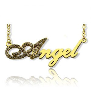 18K Gold Plated Script Name Necklace - Initial Full Birthstones