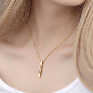 3D Engraved Bar Necklace in Rose Gold Plating