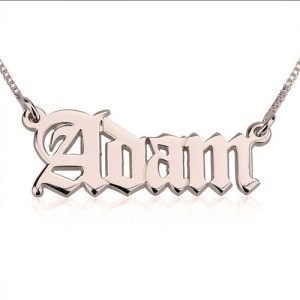 Rose Gold Plated Old English Name Necklace