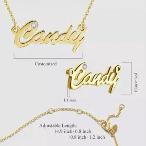 Personalized CZ Name Necklace 14k Gold Plated