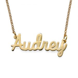 Cursive Name Necklace in 18k Gold Plating