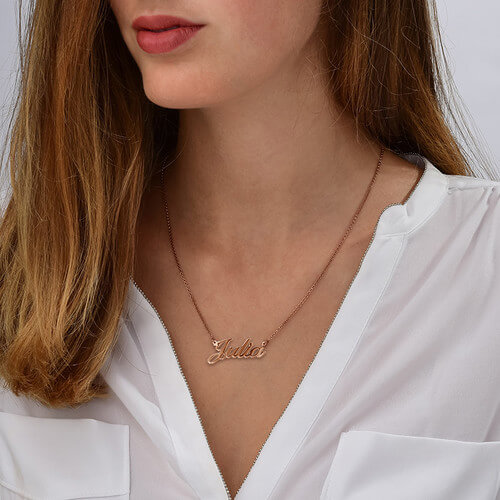 Small Classic Name Necklace in 18k Rose Gold Plating