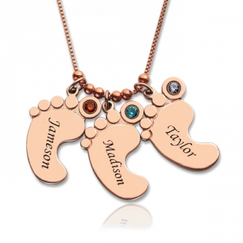 Personalized Mother's Necklace Baby Feet Charm - Rose Gold Plated