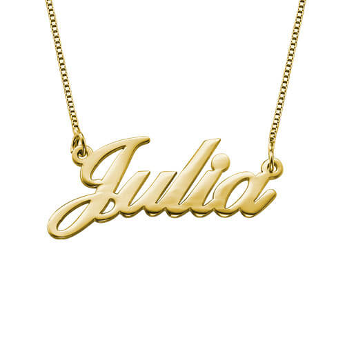 Small Classic Name Necklace in 18k Gold-Plated