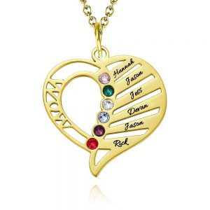 Engraved Mom Birthstone Necklace Gold Plating