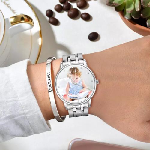 Unisex Couple Custom Photo Watch
