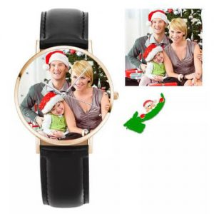 Unisex Rose Goldtone Photo Watch Black Leather Strap