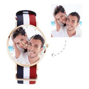 Unisex Rose Goldtone Photo Watch Color Nylon Strap