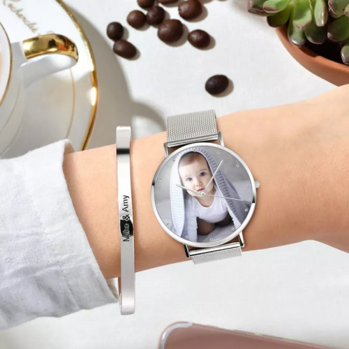 Womens Alloy Bracelet Photo Watch