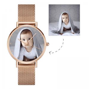 Womens Rose Gold Alloy Bracelet Photo Watch