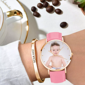 Womens Photo Watch Pink Leather Strap