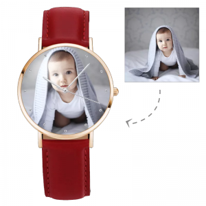Womens Rose Goldtone Photo Watch Red Leather Strap