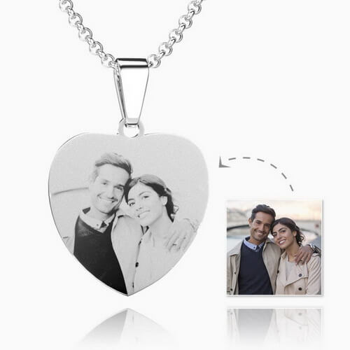 Womens Heart Photo Engraved Tag Necklace With Engraving Stainless Steel
