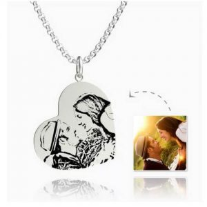 Womens Vertical Heart Photo Engraved Tag Necklace Silver