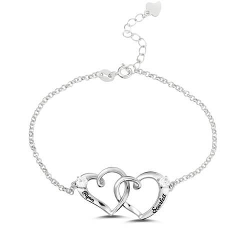 Custom Double Heart Engraved Name Bracelet