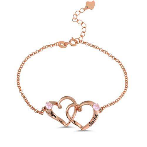 Custom Double Heart Engraved Name Bracelet In Rose Gold