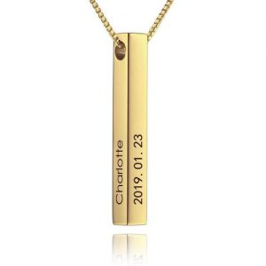 3D Engraved Bar Necklace in Gold Plating