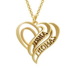 Collana a cuore 3D personalizzata con placcatura in oro