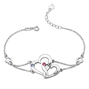 Engraved Interlocking Heart Birthstones Bracelet