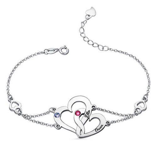 Engraved Interlocking Heart Birthstones Bracelet