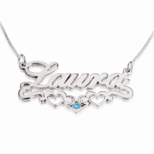 Name Necklace with underline Hearts